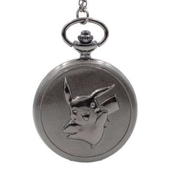 Fashion Pikachu Game Boy Pokemon Pocket Monsters Quartz Pocket Watch Analog Pendant Necklace Men Women Watches Chain Boy Gift