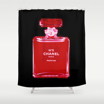 Shower Curtain - Chanel Shower Curtain - Chanel Decor - Black - Red Shower Curtain - Fashion Decor - Best Friend Gifts - Gifts for Her