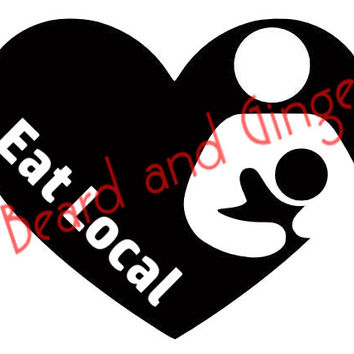 Eat Local Breastfeeding Decal -  2.5 inches x 3 inches - FREE SHIPPING! Bf nursing decal sticker phone sticker vehicle sticker