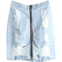 Vintage Rippled Denim Skirt with High Waist