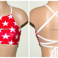 American Red & White Stars High Neck Halter Bikini Top, Criss Cross Adjustable Swimwear Bikini Top, 4Th Of July Bathing Suit, Festival Top