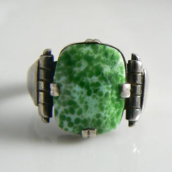 Antique Peking Glass Sterling Silver Ring