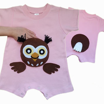 Owl  Romper  Bodysuit  Onesuit  Toddler  Owl  Shirt  Romper  Birthday  Gifts  Girls  Romper  Owl  Appliqued  Romper  Kids  clothes