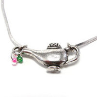 Delta Zeta Roman Lamp Necklace - Pink and Green DZ Sorority Jewelry - Preppy Greek Accessory