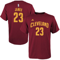 Youth Cleveland Cavaliers LeBron James adidas Burgundy Game Time Flat Name & Number T-Shirt