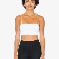 Cotton Spandex Super Crop Spaghetti Tank | American Apparel