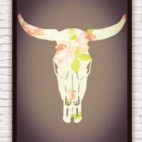 Floral Pattern Western Cow Skull // Urban Art // Cow Skull Silhouette w/ Flowers // Turquoise, Pink, Green // Shabby Chic Poster Print