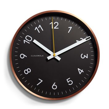 Now Wall Clock by Cloudnola BLACK/COPPER