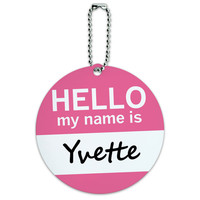 Yvette Hello My Name Is Round ID Card Luggage Tag