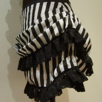 Mini burlesque stripe bustle skirt by blackmirrordesign on Etsy