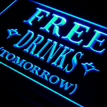 FREE DRINKS TOMORROW Beer Bar LED Neon Light Sign On/Off Switch 7 Colors