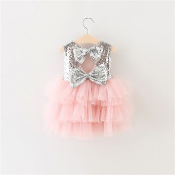 Multi-Tiered Birthday Party Dress For Newborn Baby Girl Bowknot Decoration Summer Boutique Layered Cake Dress For Toddler Girl