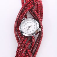 Red Faux Suede Rhinestone Decor watch
