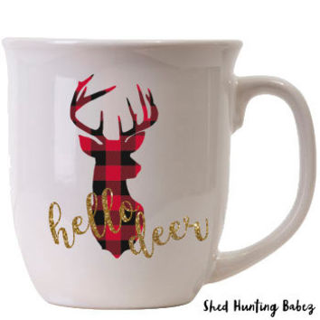 Buffalo Plaid Hello Deer Gold Glitter Coffee Mug // Whitetail Deer // Cute Christmas Coffee Mugs
