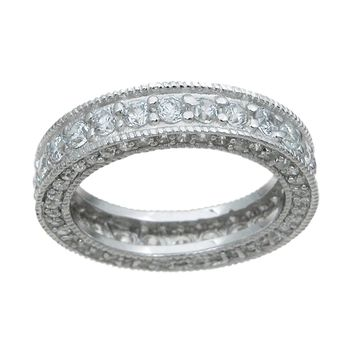 925 Sterling Silver Eternity Ring 1.5 Carat Weight- Size 5