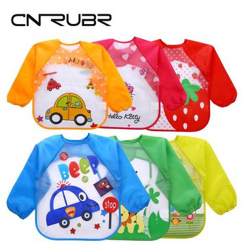 CN-RUBR New Cartoon Baby Bibs Eva Waterproof Baby Feeding Bandana Long Sleeve Art Apron Animal Smock Clothing For Children
