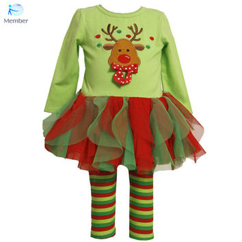 New Winter Baby Clothing Red Christmas Costume For Baby Girls Clothes Children Cotton Cartoon Deer snowman long-sleeved suit 30#