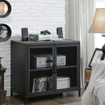 Rustic Style 31 Inches Metal TV Stand With Wire Mesh Doors Cabinet, Black