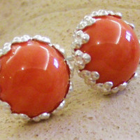 coral post earrings, bezel set cabochons, sterling silver, large studs
