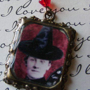 Witch Way Purse Charm Vintage Lady with Charming Witch Hat Antiqued Brass Altered Art