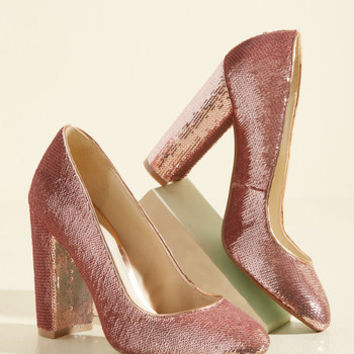 Sequin and Ye Shall Find Heel in Rose | Mod Retro Vintage Heels | ModCloth.com