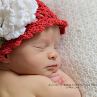 Crochet Pattern for Spring Bloom Beanie Flower Hat - 5 sizes, baby to adult - Welcome to sell finished items