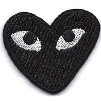 """PLAY"" COMME des GARCONS Black Heart Eyes Embroidered Iron On / Sew On Patch"