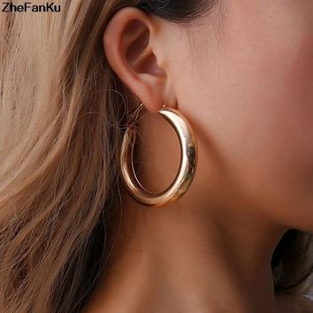 50 MM Big Gold Hoops Earrings Minimalist Thick Tube Round Circle Rings Earrings For Women Zinc Alloy Trendy Hiphop Rock