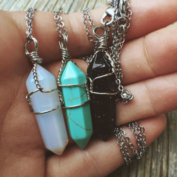 Necklaces - Wire Wrapped Crystal Pendant Boho Jewelry