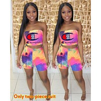 Champion tide brand women's gradient printing letter sexy tube top two-piece