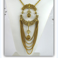 70s Vintage Gold Filigree Baroque Necklace