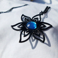 "Black Necklace with Wire Flower Charm/Blue Gemstone, ""Katie"""