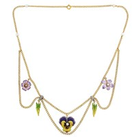 Edwardian Enamel Diamond Gold Festoon Flower Necklace