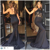 Sexy Backless Black Lace Satin Mermaid Prom Dresses 2016 Beaded Appliques Elegant Teens Prom Gowns Vestidos De Festa Discount