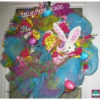 Easter Bunny Deco Mesh Wreath Spring Wreath Easter Decoration