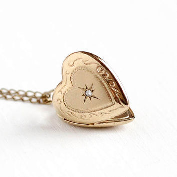 Vintage Gold Filled Heart Shaped Diamond Locket Necklace -Retro 1970s Starburst Star Design Pendant Dainty Photo Keepsake Photograph Jewelry
