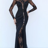 Standing Ovation Navy Blue Sheer Mesh Lace Trim Long Sleeve Scoop Neck Maxi Dress Evening Gown