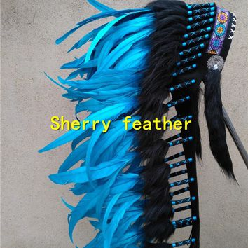 28inch turquoise Indian Feather headdress indian war bonnet chief headdress halloween party dancewear costume supply decor
