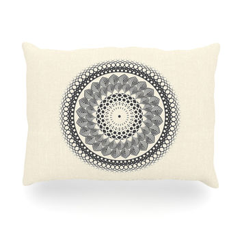 "Famenxt ""Black & White Boho Mandala"" Geometric Oblong Pillow"