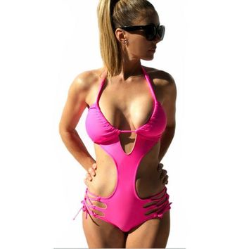 VONETDQ Bandage Swimwear 2017 One Piece Swimsuit Women's Sexy Halter Beachwear Bathing Suit Push Up Vintage Cut Out Monokini Swim Wear