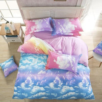 Rainbow clouds bedding set
