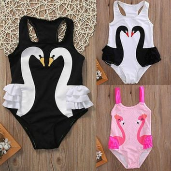 Baby Girls Toddler Kids Swan Tutu Ruffles One Piece Swimsuit Swimwear Summer Biquin Bathing Suit Beachwear Bikini 3Colors 2-7Y