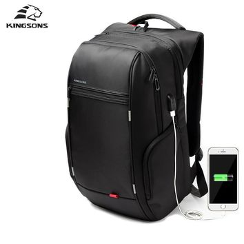 "Kingsons 15""17"" Men Laptop Backpack External Usb Charge Antitheft Backpack For Men Male Waterproof Bag Rucksack"