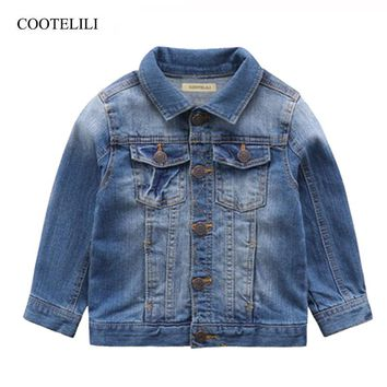 COOTELILI 80-130cm Fashion Jeans Jacket For Kids Boys Full Sleeve Outerwear & Coats Jacket For Children Girls Coat Clothes