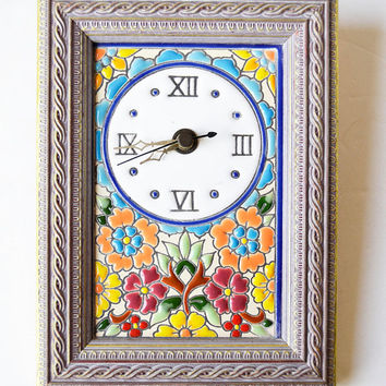 Wall Clock . Spanish ceramic hand-drawn
