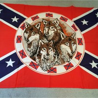Confederate 3 x 5 ft Flag with Wolf Pack