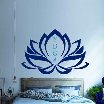 Mandala Yoga Wall Decal Lotus Stickers Namaste Yoga Studio Vinyl Decals Flower Art Mural Home Interior Design Bedroom Bohemian Decor KI111
