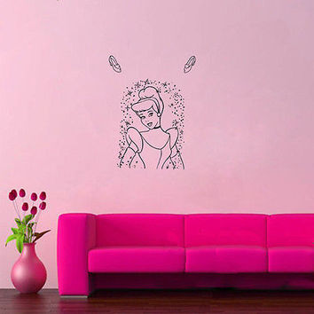 Wall Mural Vinyl Sticker Decal   BEAUTIFUL SHOES MAGIC CINDERELLA DA882