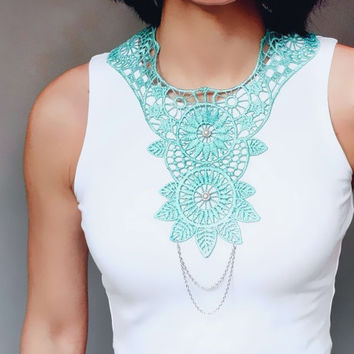 statement necklace // large teal blue lace bib necklace // hand dyed // silver chain beaded // party wedding accessory - jewelry gift