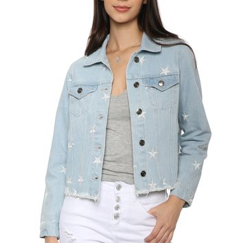 Brooklyn Karma Star Embroidered Denim Jacket